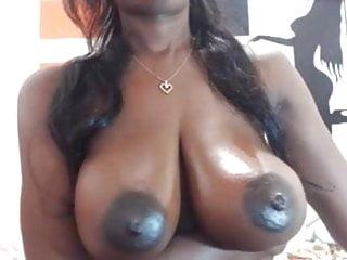 Large Black Nipples On Chocolate Breasts