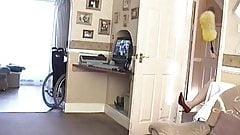58 yo Milf naked in heels doing housework and drinking cum
