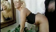 Short of blond in vintage leopard thigh boots fucked