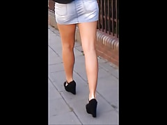 #99 Hot teen with sexy legs in jeans mini skirt
