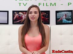 Casting teen choked and pussyfucked hard