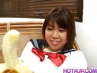 Ai Kazumi in school uniform sucks cock
