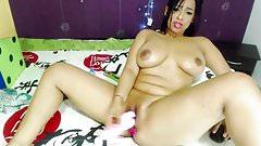 Sexy Latina masturbates wet pussy