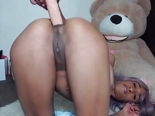 Stunning black Vixi Vee with long tongue fucks tight ass