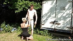 Glam granny orally working on sweet young dick