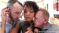 Jules Jordan - Honey Gold Gets Double Teamed's Thumb