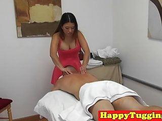 Asian spycam masseuse wanking her client