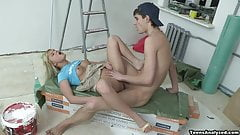 Ass drilling and facial cum-painting