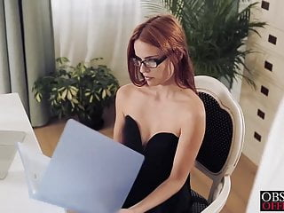 Sexy Susana is bent over her office desk