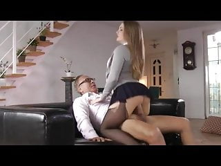Nyloned College Girl Fucked by Older Man