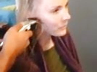 hot blonde lets friend buzz her hair