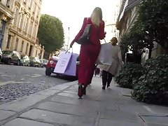 Milf Blonde in red jacket and pant and high heels louboutins