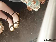 Candid pale girl feet and legs