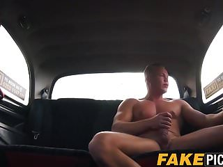 Busty English cabbie rides and sucks clients big fat cock