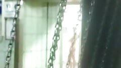 Risky jerk off in public shower