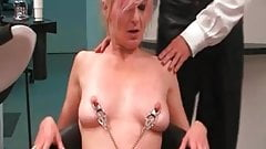 My Sexy Piercings Slave getting her pierced pussy stretched