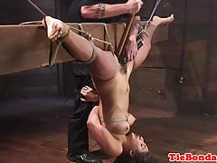 Maledom pulls subs pussy hair before toying