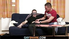 Toying his virgin ass before gay cock riding