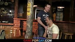 Hetero bartender getting lured into gay cock riding