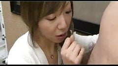 Asian girls sucking cum