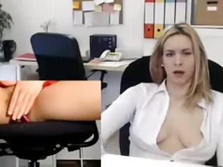 Office slut fingering her cunt