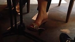 Candid  MILF Feet Dangling Shoeplay 1