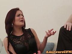 Sitting domina humiliates guy during CFNM