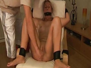 Amateur Blonde wife tied up and fucked with dildos