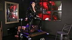 Femdomlady shiny latex and licking male slave