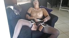 Christina layerd stockings and cum