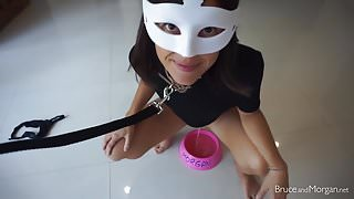 Piss and Cum: Leashed Girlfriend Drinks Out of a Dog Bowl