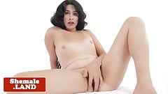 Solo trans beauty fingering her tight asshole