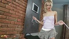 Blonde whore Mia can't get enough vibrator masturbation