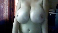 classic busty pale milf stripping and showing huge tits