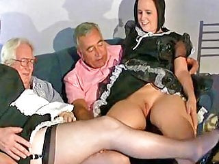 Teen with 2 old men and a mature crossdresser