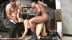 Brunette tranny gets fucked by two studs and takes a big