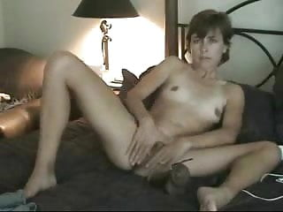 My young wife masturbating for me on bed