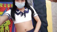 Schoolgirl crossdresser playing with herself