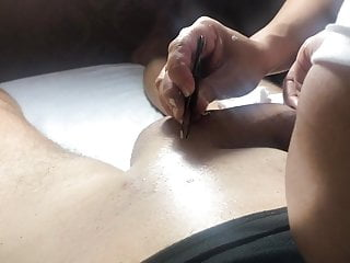 Brazilian Waxing of a Big Cock Part 7 Removing all hair