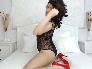 Sexy Brunette Teasing In Black Lingerie On Web Cam