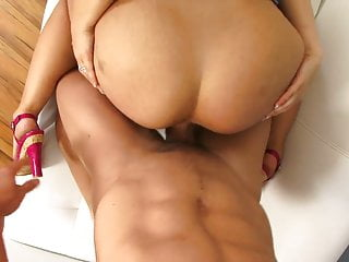 Big butt slut in amini skirt rides fit hunk reverse cowgirl