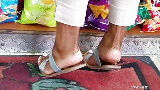 Candid ebony feet white toes