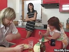 Lewd mom seduces my girl into threesome