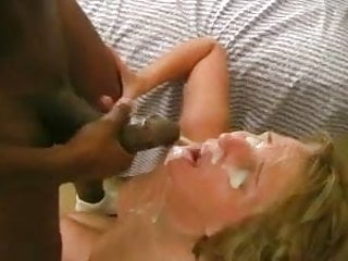 Mature blonde wife gets a great facial load from black cock