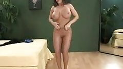 Busty Milf in nylons show her big tits and pussy lips