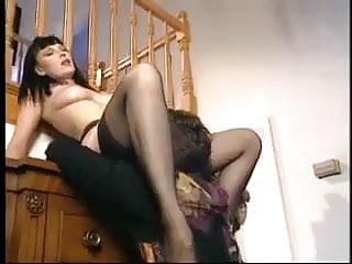 Horny milf in black stockings