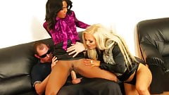 Glam euro sluts threesome with police officer