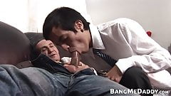 Young gay cummed on after bareback fuck with a mature dick