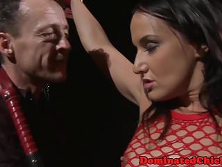 Restrained euro beauty pounded by maledom