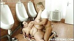 fat brunette Jitka face-riding her boy slave